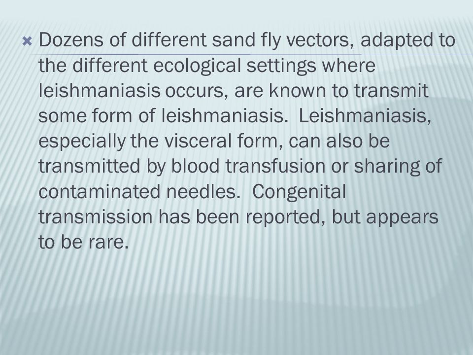  Dozens of different sand fly vectors, adapted to the different ecological settings where leishmaniasis occurs, are known to transmit some form of le