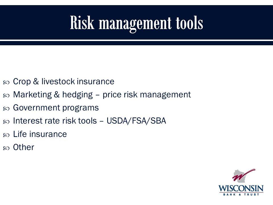 19  Crop & livestock insurance  Marketing & hedging – price risk management  Government programs  Interest rate risk tools – USDA/FSA/SBA  Life insurance  Other