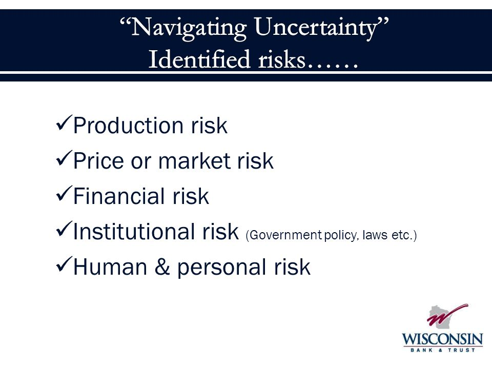 Production risk Price or market risk Financial risk Institutional risk (Government policy, laws etc.) Human & personal risk