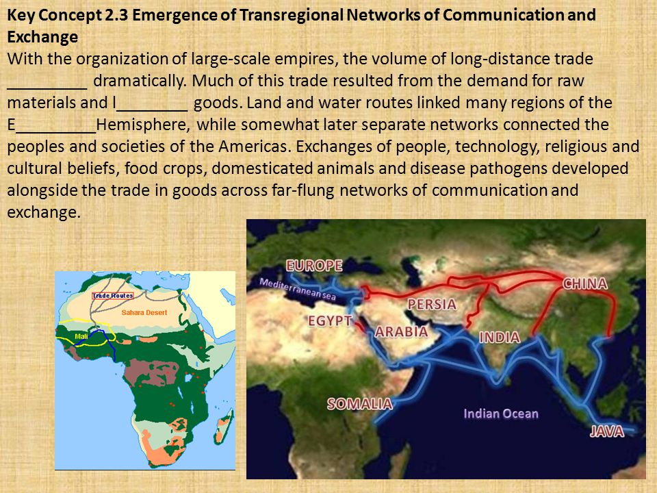 Key Concept 2.3 Emergence of Transregional Networks of Communication and Exchange With the organization of large-scale empires, the volume of long-dis