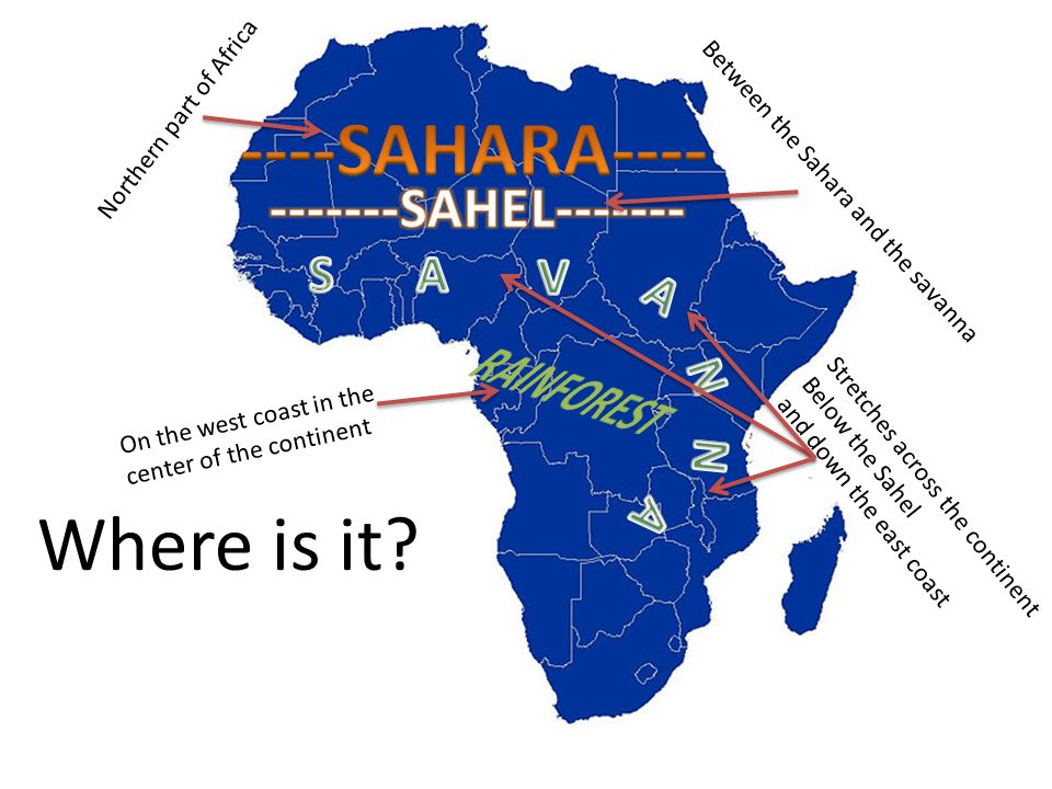 Where is it? Northern part of Africa Between the Sahara and the savanna Stretches across the continent Below the Sahel and down the east coast On the