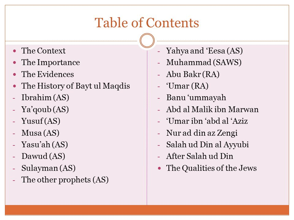 Table of Contents The Context The Importance The Evidences The History of Bayt ul Maqdis - Ibrahim (AS) - Ya'qoub (AS) - Yusuf (AS) - Musa (AS) - Yasu'ah (AS) - Dawud (AS) - Sulayman (AS) - The other prophets (AS) - Yahya and 'Eesa (AS) - Muhammad (SAWS) - Abu Bakr (RA) - 'Umar (RA) - Banu 'ummayah - Abd al Malik ibn Marwan - 'Umar ibn 'abd al 'Aziz - Nur ad din az Zengi - Salah ud Din al Ayyubi - After Salah ud Din The Qualities of the Jews