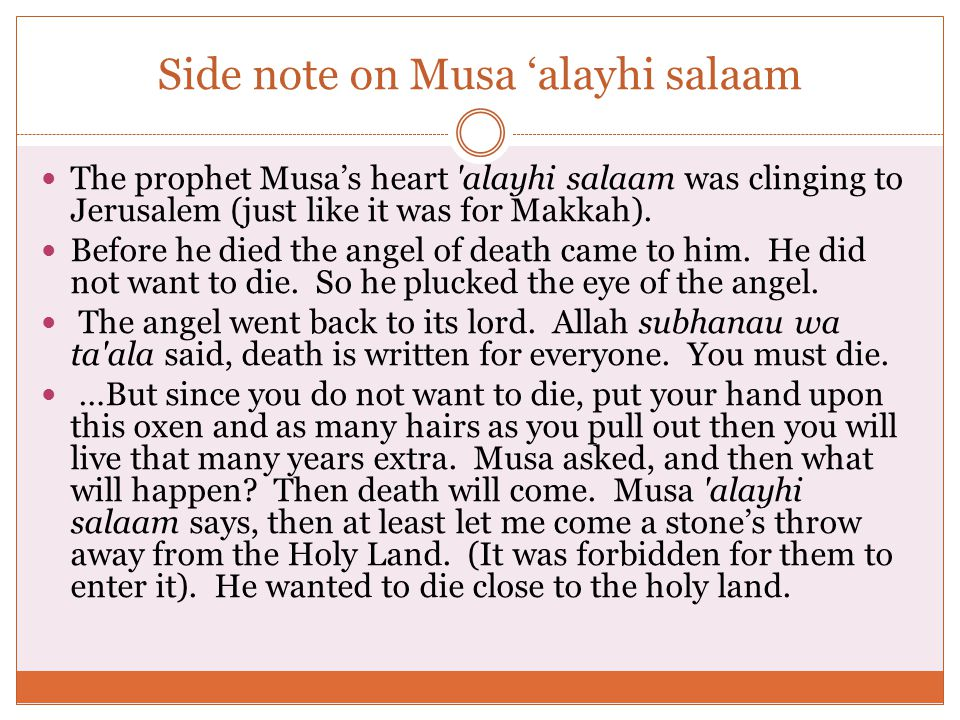 Side note on Musa 'alayhi salaam The prophet Musa's heart alayhi salaam was clinging to Jerusalem (just like it was for Makkah).