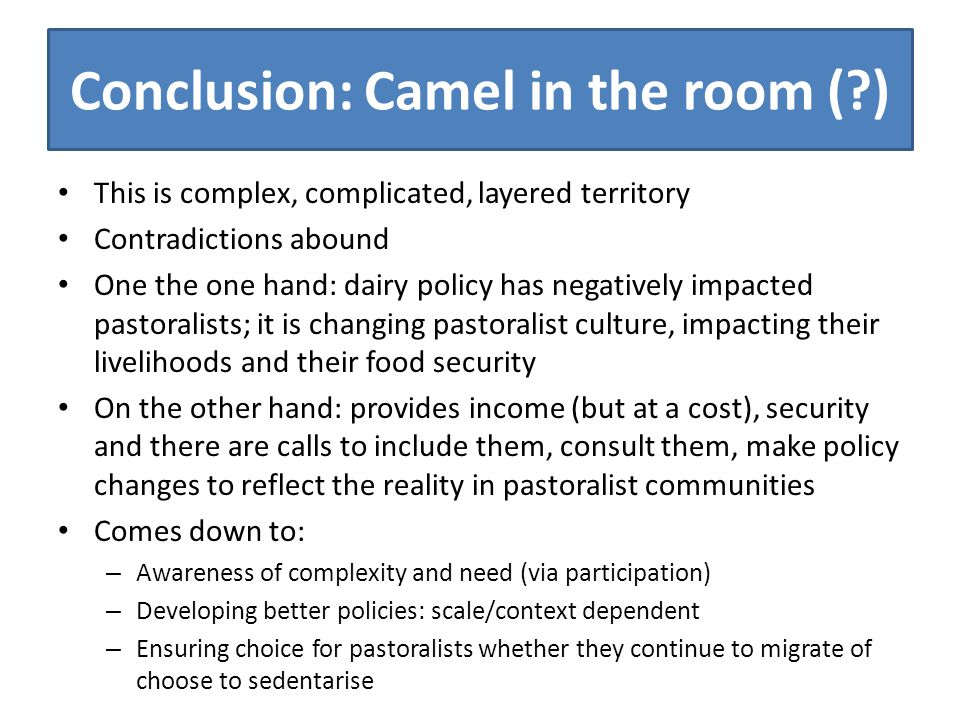 Conclusion: Camel in the room ( ) This is complex, complicated, layered territory Contradictions abound One the one hand: dairy policy has negatively impacted pastoralists; it is changing pastoralist culture, impacting their livelihoods and their food security On the other hand: provides income (but at a cost), security and there are calls to include them, consult them, make policy changes to reflect the reality in pastoralist communities Comes down to: – Awareness of complexity and need (via participation) – Developing better policies: scale/context dependent – Ensuring choice for pastoralists whether they continue to migrate of choose to sedentarise