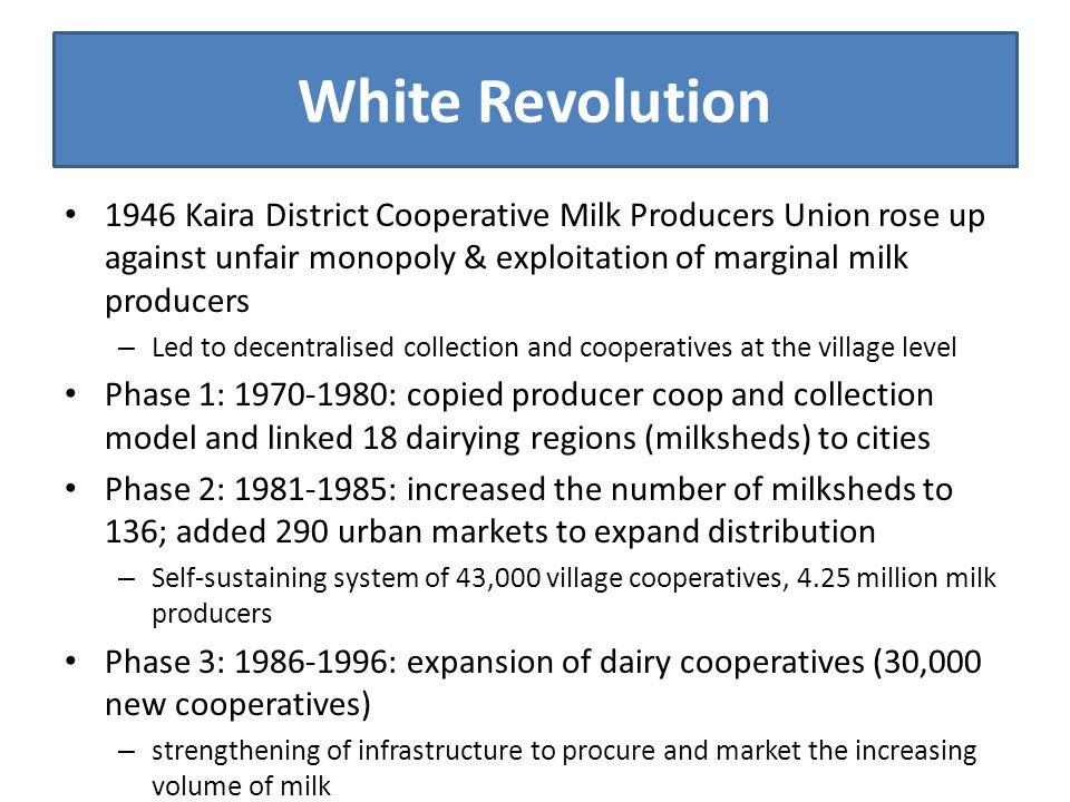 White Revolution 1946 Kaira District Cooperative Milk Producers Union rose up against unfair monopoly & exploitation of marginal milk producers – Led