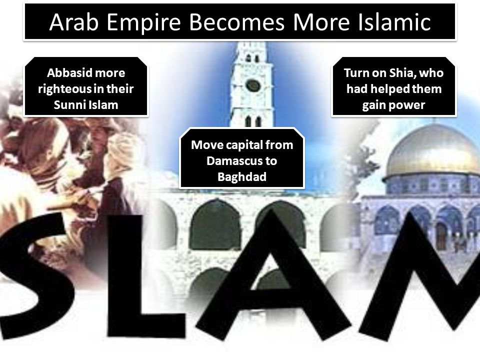 Great Achievements of the Arab Empire Nobody thought that backwards camel nomads could build an empire so large and so quickly Successfully used religion (Islam) as political power Arab dominance began a period in time when nomads dominated much of the world