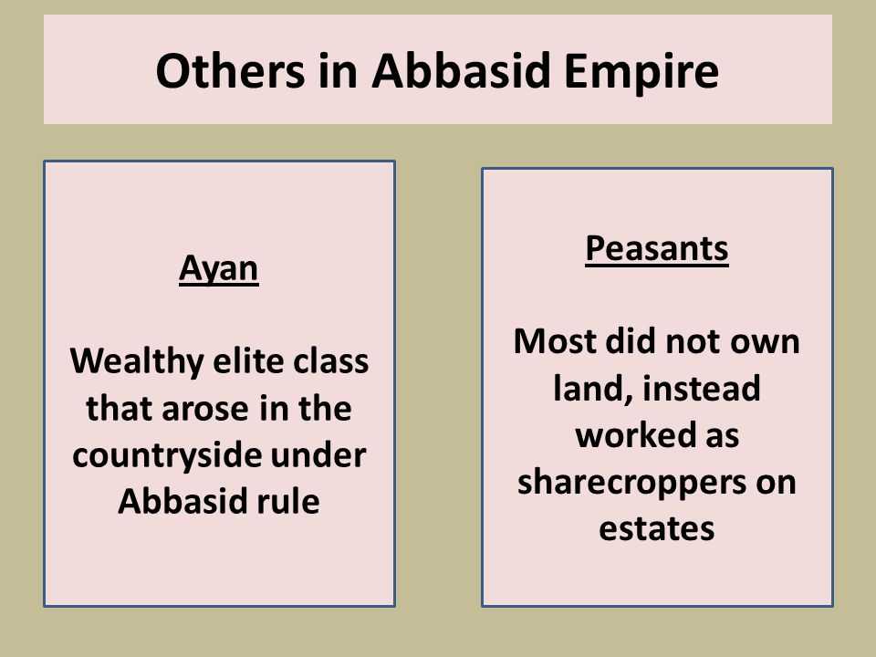 Others in Abbasid Empire Ayan Wealthy elite class that arose in the countryside under Abbasid rule Peasants Most did not own land, instead worked as sharecroppers on estates