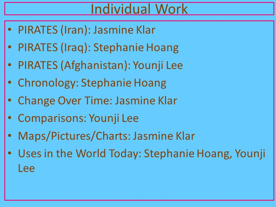 Individual Work PIRATES (Iran): Jasmine Klar PIRATES (Iraq): Stephanie Hoang PIRATES (Afghanistan): Younji Lee Chronology: Stephanie Hoang Change Over