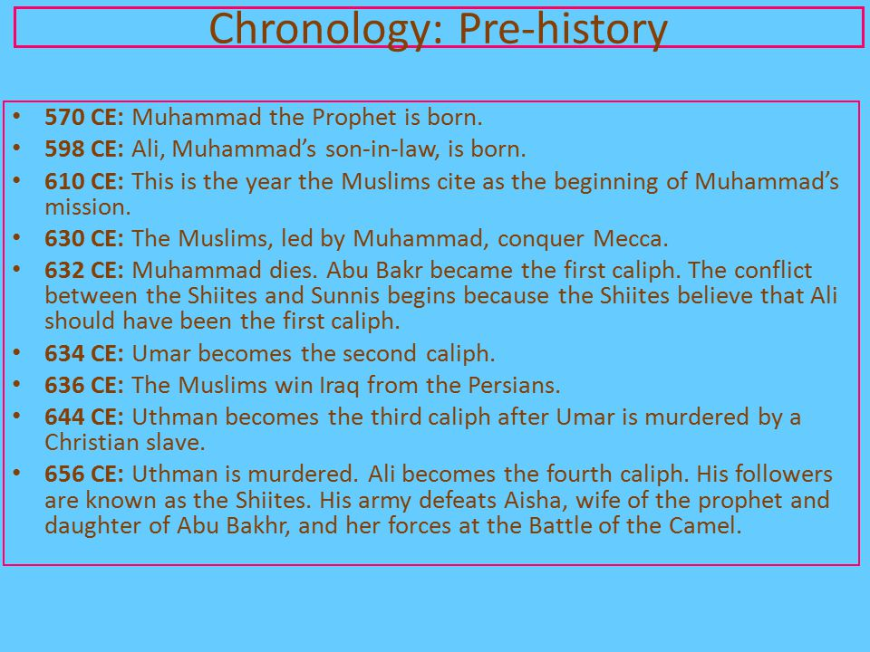 570 CE: Muhammad the Prophet is born. 598 CE: Ali, Muhammad's son-in-law, is born. 610 CE: This is the year the Muslims cite as the beginning of Muham
