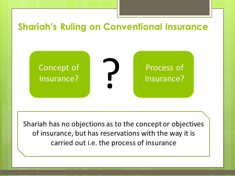 Shariah's Ruling on Conventional Insurance Concept of Insurance.