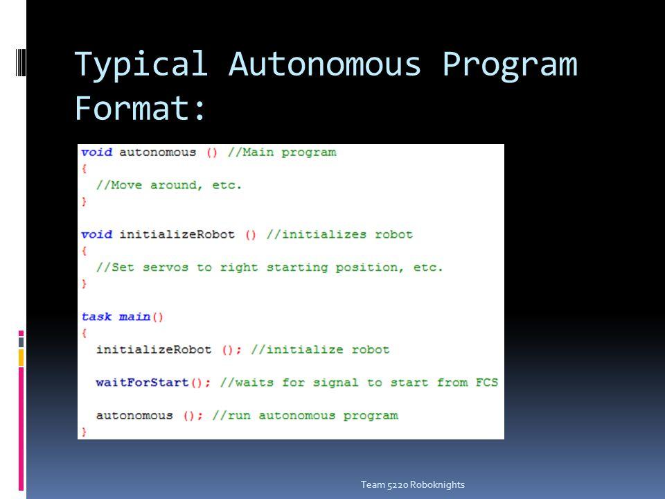 Typical TeleOp Program Format: Team 5220 Roboknights