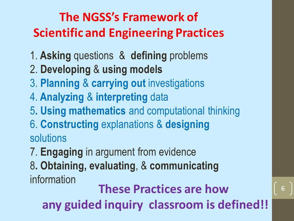 6 1. Asking questions & defining problems 2. Developing & using models 3.