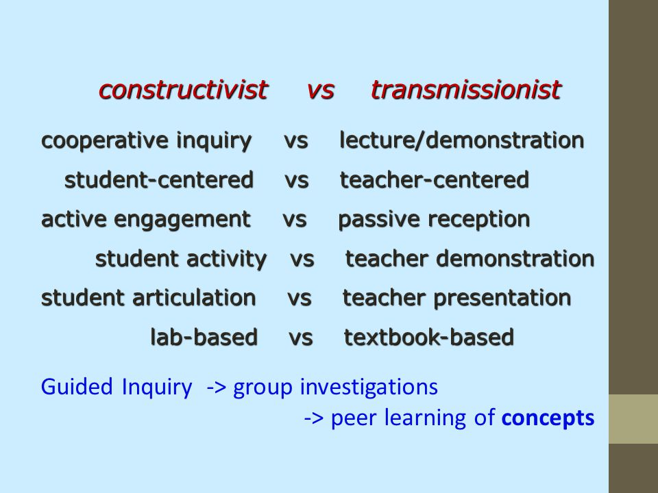 constructivist vs transmissionist cooperative inquiry vs lecture/demonstration student-centered vs teacher-centered student-centered vs teacher-center