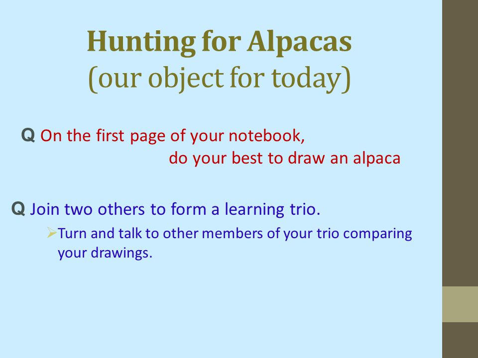 Hunting for Alpacas (our object for today) Q Join two others to form a learning trio.  Turn and talk to other members of your trio comparing your dra
