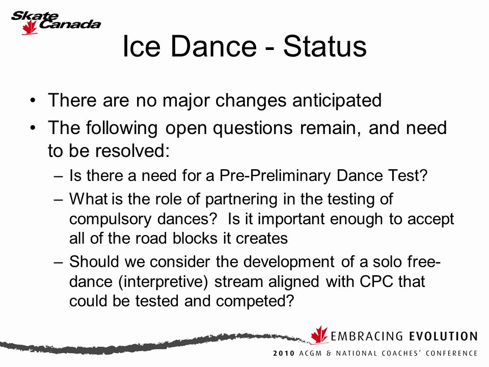 Ice Dance - Status There are no major changes anticipated The following open questions remain, and need to be resolved: –Is there a need for a Pre-Preliminary Dance Test.