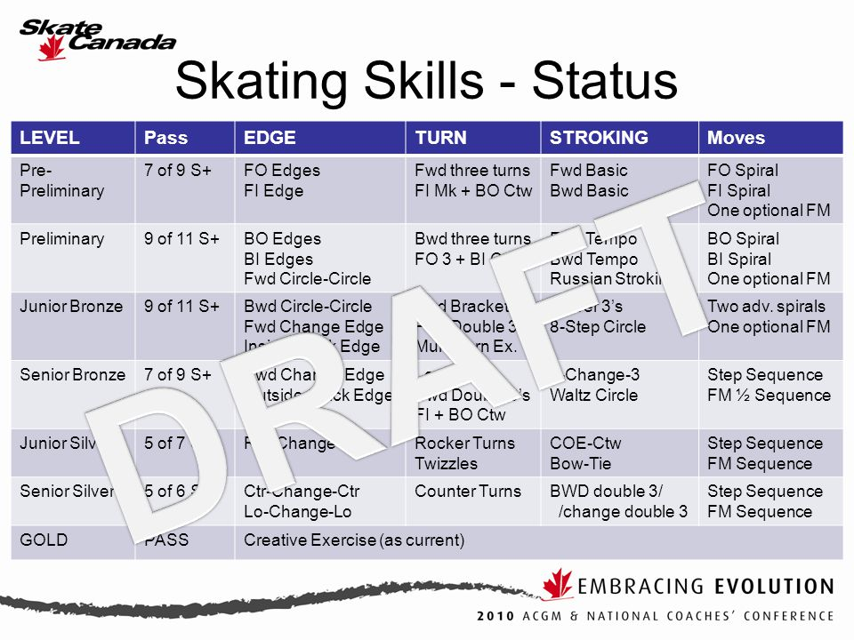 Skating Skills - Status LEVELPassEDGETURNSTROKINGMoves Pre- Preliminary 7 of 9 S+FO Edges FI Edge Fwd three turns FI Mk + BO Ctw Fwd Basic Bwd Basic FO Spiral FI Spiral One optional FM Preliminary9 of 11 S+BO Edges BI Edges Fwd Circle-Circle Bwd three turns FO 3 + BI Ctw Fwd Tempo Bwd Tempo Russian Stroking BO Spiral BI Spiral One optional FM Junior Bronze9 of 11 S+Bwd Circle-Circle Fwd Change Edge Inside Quick Edge Fwd Brackets Fwd Double 3's Multi-Turn Ex.