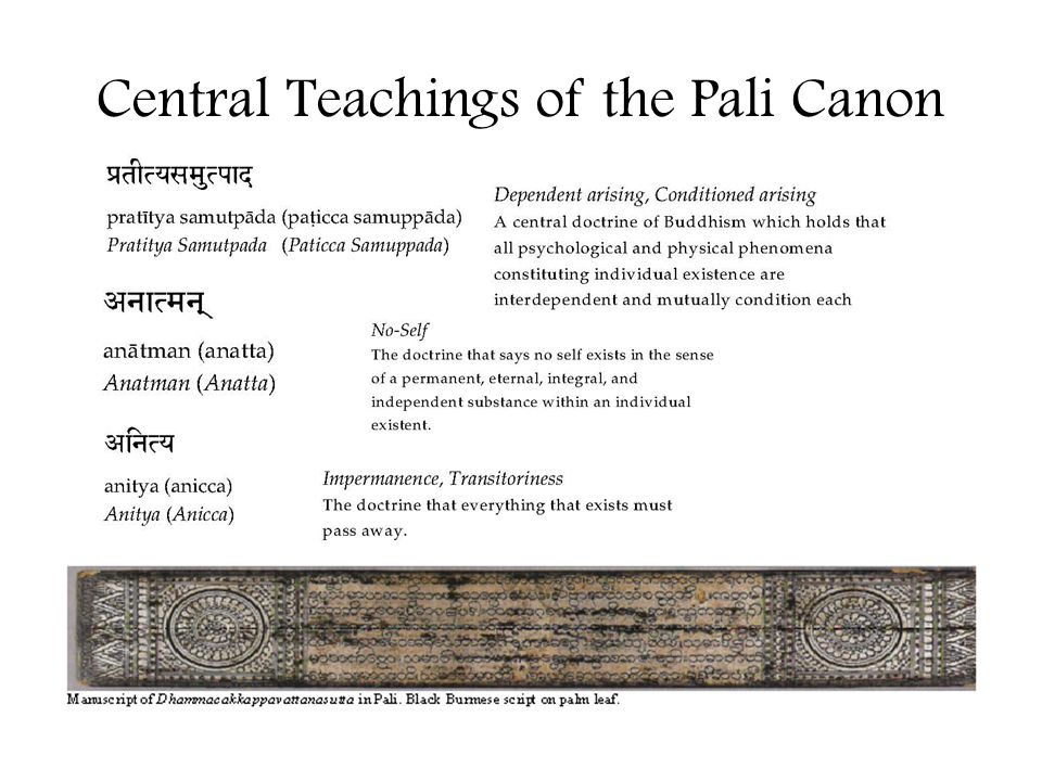Central Teachings of the Pali Canon