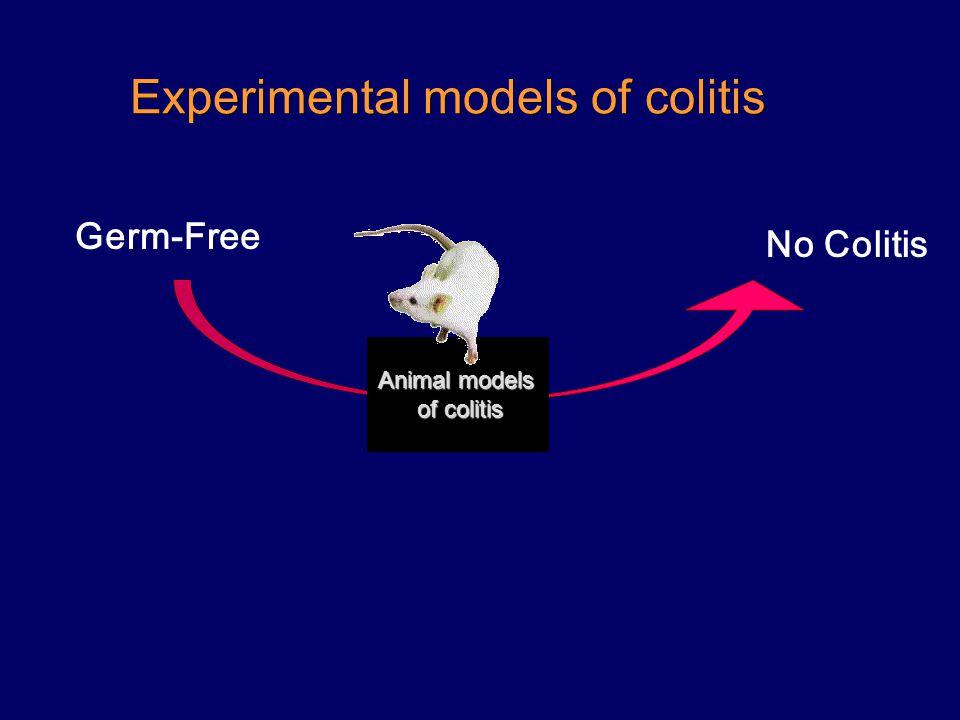 Experimental models of colitis Germ-Free No Colitis Animal models of colitis