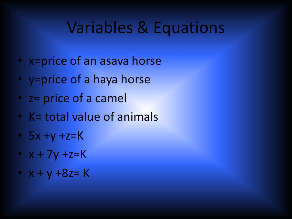 Variables & Equations x=price of an asava horse y=price of a haya horse z= price of a camel K= total value of animals 5x +y +z=K x + 7y +z=K x + y +8z= K