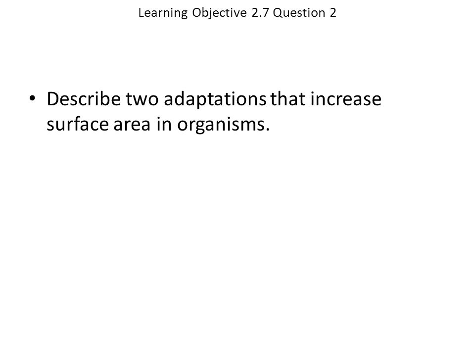 Learning Objective 2.7 Question 2 Describe two adaptations that increase surface area in organisms.