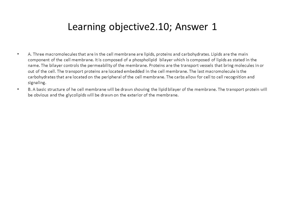 Learning objective2.10; Answer 1 A. Three macromolecules that are in the cell membrane are lipids, proteins and carbohydrates. Lipids are the main com