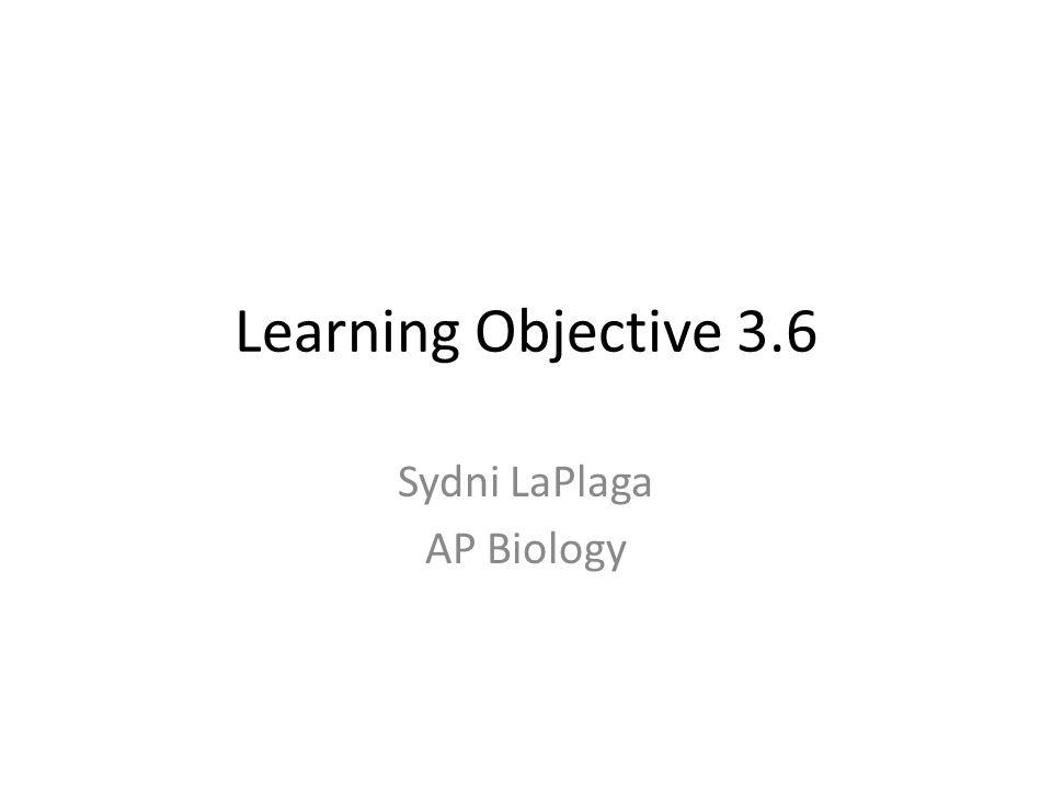 Learning Objective 3.6 Sydni LaPlaga AP Biology