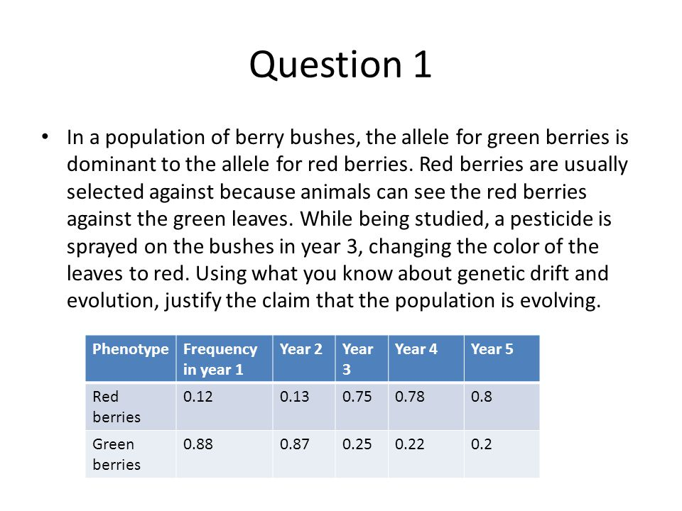 Question 1 In a population of berry bushes, the allele for green berries is dominant to the allele for red berries. Red berries are usually selected a