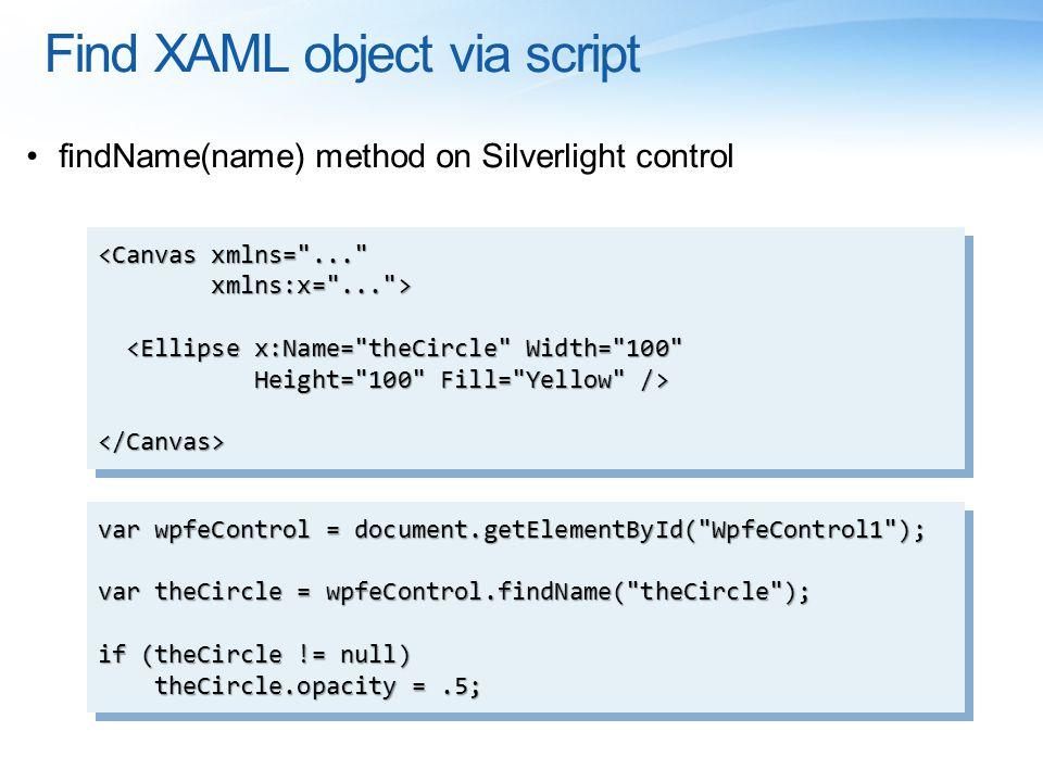 Find XAML object via script findName(name) method on Silverlight control var wpfeControl = document.getElementById(