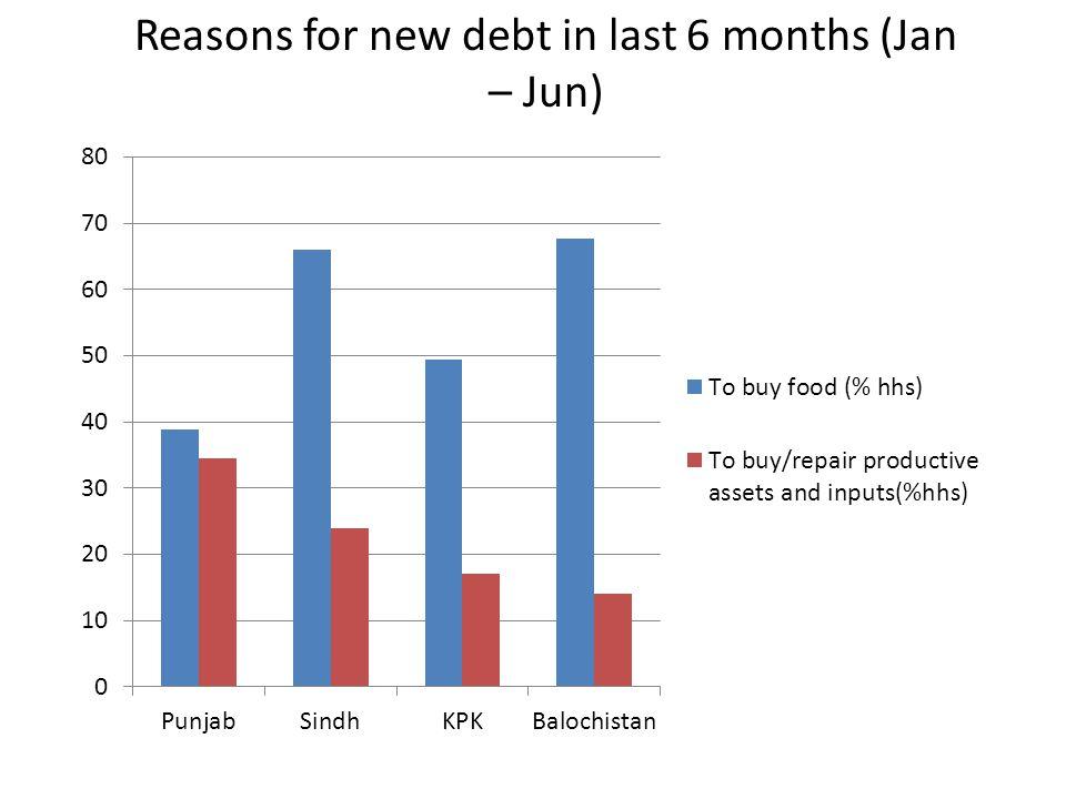 Reasons for new debt in last 6 months (Jan – Jun)