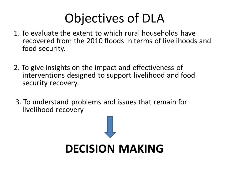 Objectives of DLA 1.