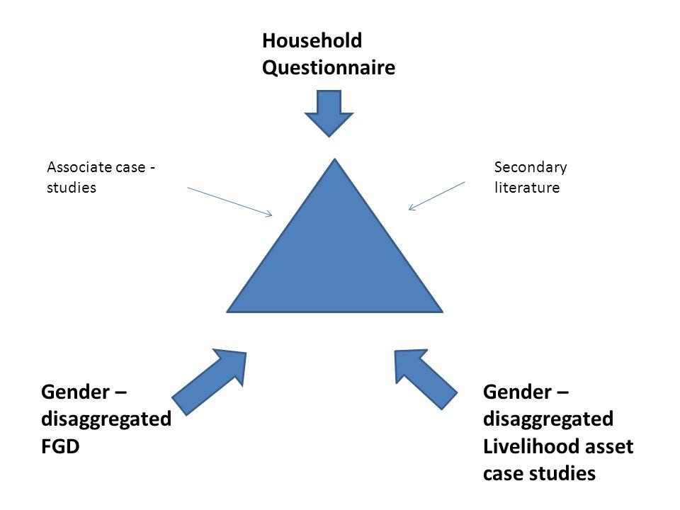 Household Questionnaire Gender – disaggregated FGD Gender – disaggregated Livelihood asset case studies Secondary literature Associate case - studies