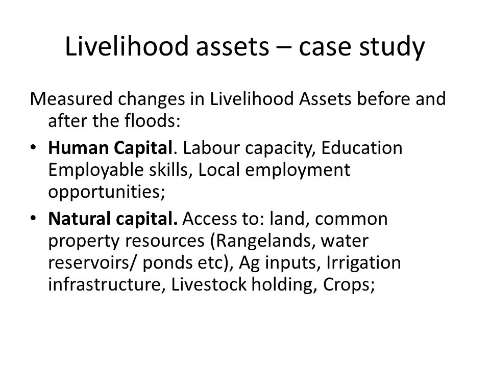 Livelihood assets – case study Measured changes in Livelihood Assets before and after the floods: Human Capital.