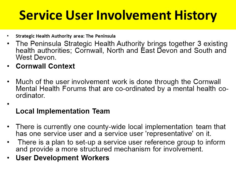 Service User Involvement History Strategic Health Authority area: The Peninsula The Peninsula Strategic Health Authority brings together 3 existing health authorities; Cornwall, North and East Devon and South and West Devon.