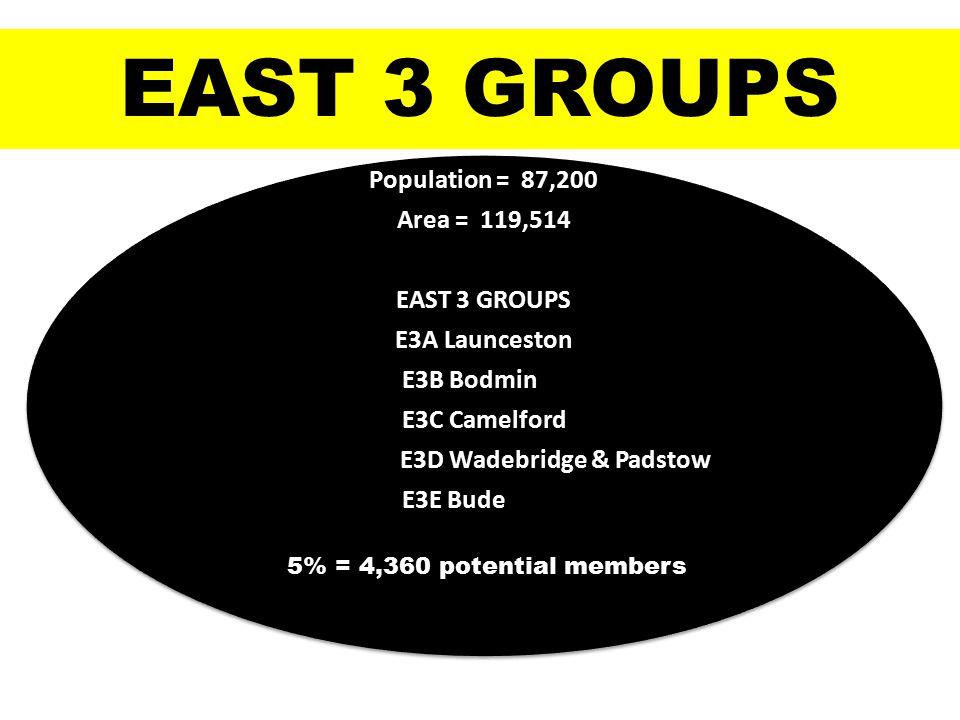 Population = 87,200 Area = 119,514 EAST 3 GROUPS E3A Launceston E3B Bodmin E3C Camelford E3D Wadebridge & Padstow E3E Bude EAST 3 GROUPS 5% = 4,360 potential members