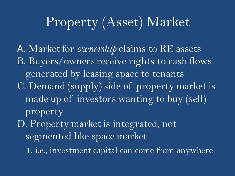 Property (Asset) Market A. Market for ownership claims to RE assets B.