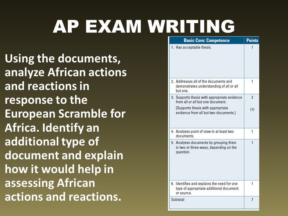 AP EXAM WRITING Using the documents, analyze African actions and reactions in response to the European Scramble for Africa. Identify an additional typ