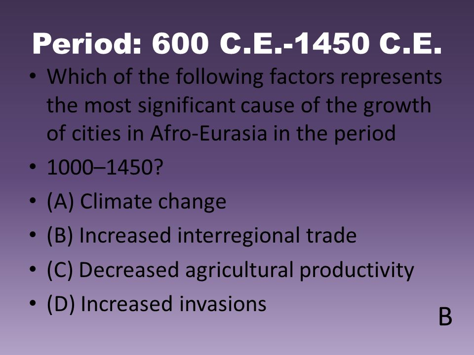 Period: 600 C.E.-1450 C.E. Which of the following factors represents the most significant cause of the growth of cities in Afro-Eurasia in the period