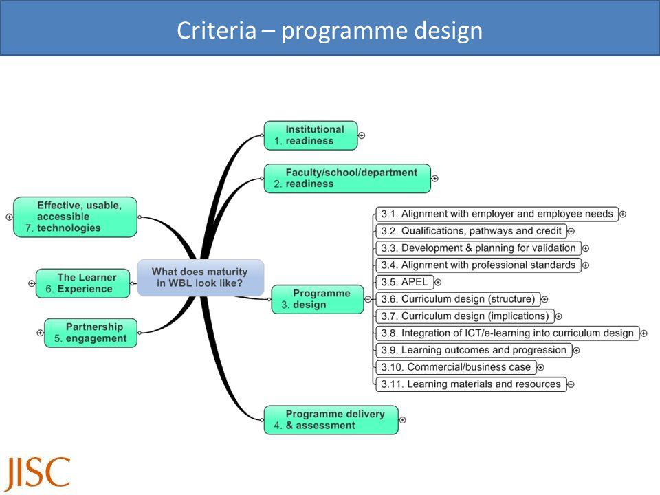 Criteria – programme design