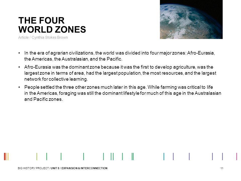 11 THE FOUR WORLD ZONES Article / Cynthia Stokes Brown In the era of agrarian civilizations, the world was divided into four major zones: Afro-Eurasia