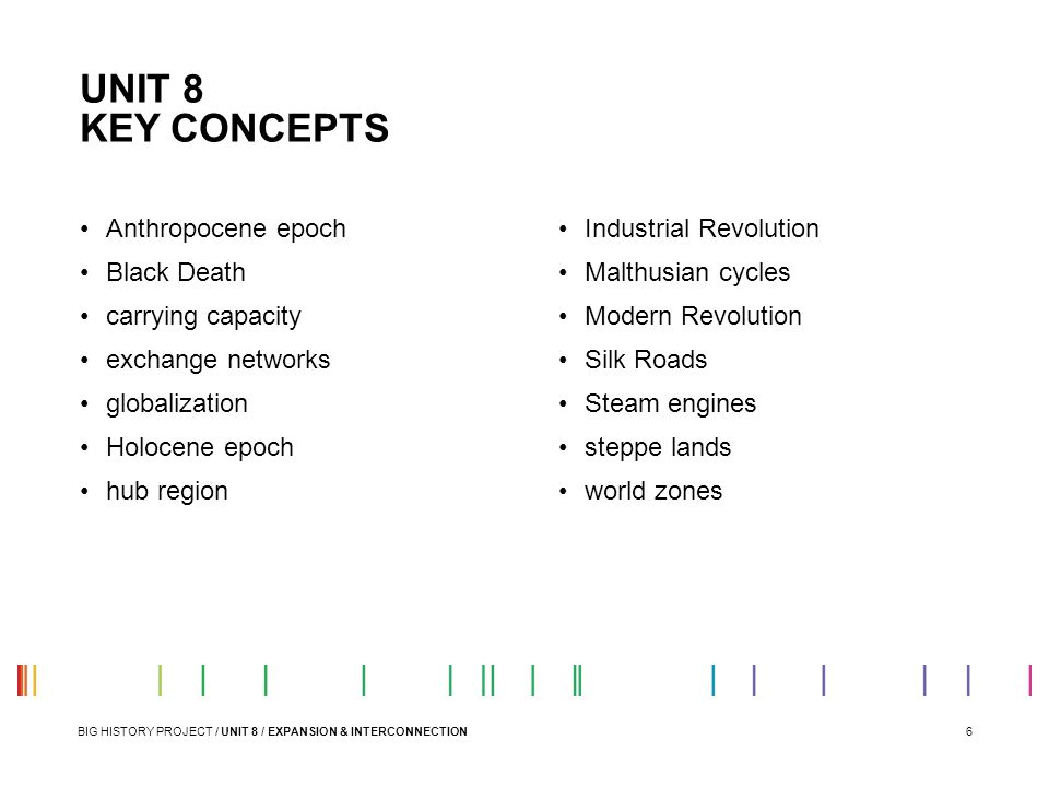 6 UNIT 8 KEY CONCEPTS BIG HISTORY PROJECT / UNIT 8 / EXPANSION & INTERCONNECTION Anthropocene epoch Black Death carrying capacity exchange networks gl