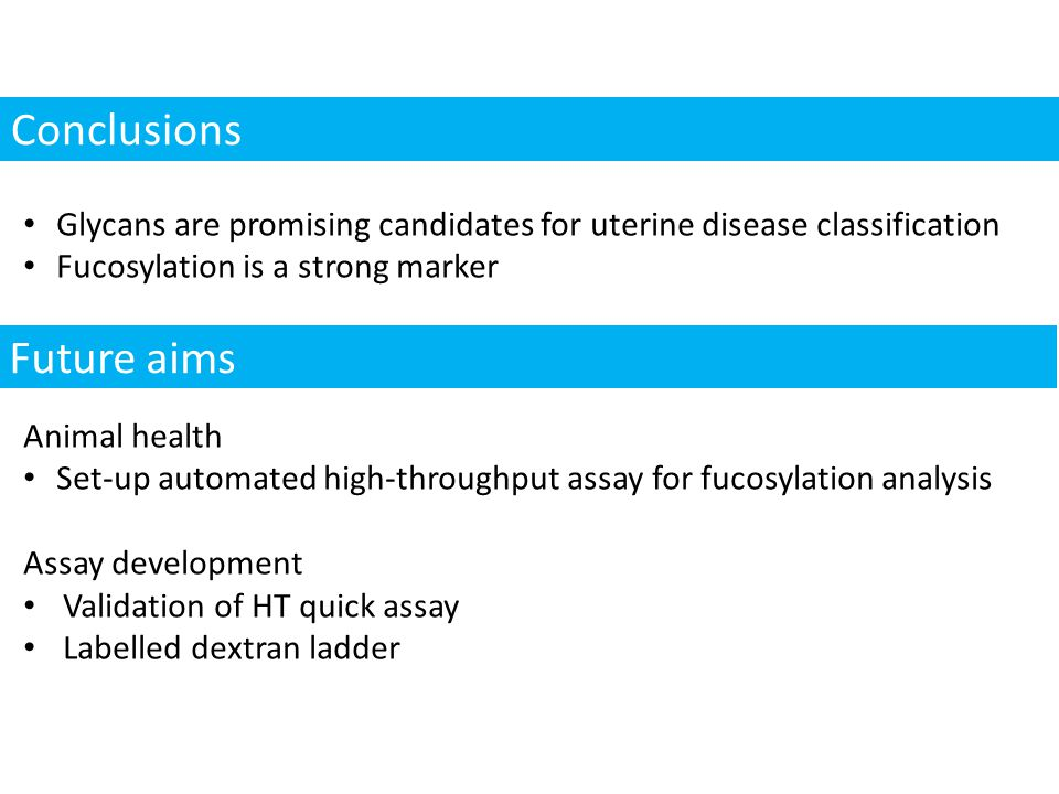 Conclusions Glycans are promising candidates for uterine disease classification Fucosylation is a strong marker Animal health Set-up automated high-throughput assay for fucosylation analysis Assay development Validation of HT quick assay Labelled dextran ladder Future aims