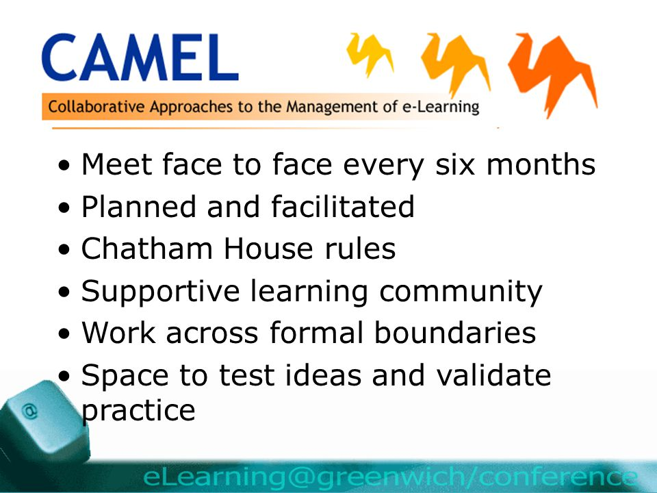 Meet face to face every six months Planned and facilitated Chatham House rules Supportive learning community Work across formal boundaries Space to test ideas and validate practice
