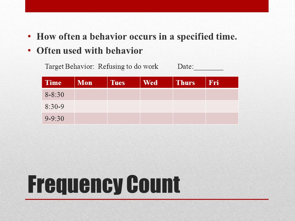 Frequency Count How often a behavior occurs in a specified time.