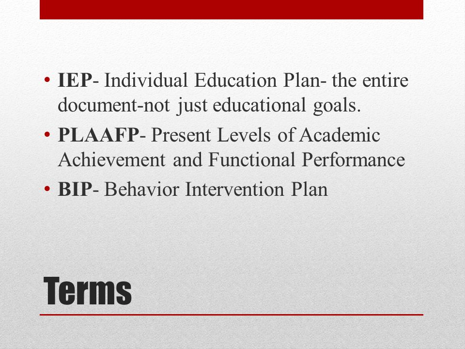 Terms IEP- Individual Education Plan- the entire document-not just educational goals.