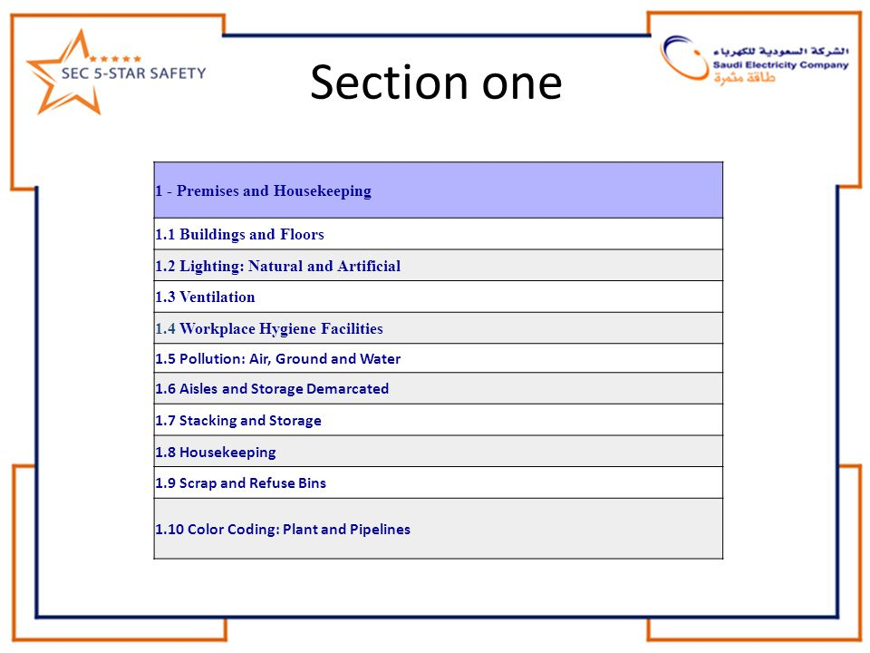 Section one 1 - Premises and Housekeeping 1.1 Buildings and Floors 1.2 Lighting: Natural and Artificial 1.3 Ventilation 1.4 Workplace Hygiene Faciliti