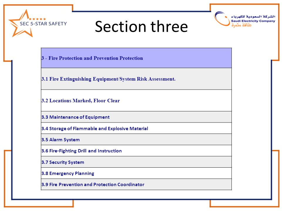 Section three 3 - Fire Protection and Prevention Protection 3.1 Fire Extinguishing Equipment/System Risk Assessment. 3.2 Locations Marked, Floor Clear