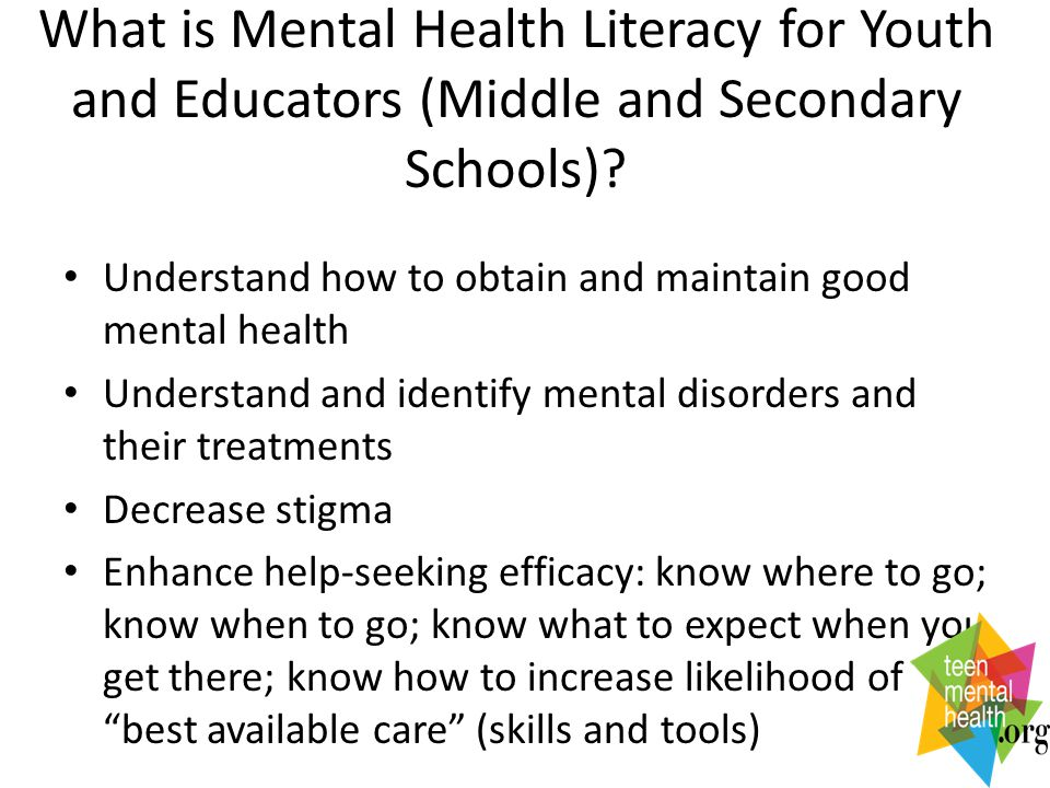 What is Mental Health Literacy for Youth and Educators (Middle and Secondary Schools).