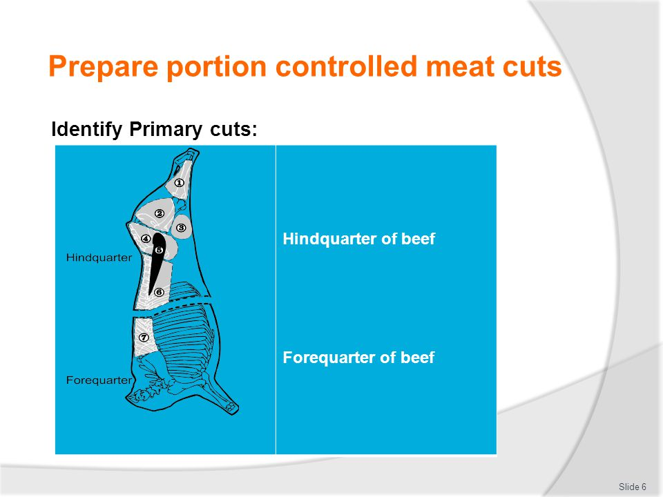 Prepare portion controlled meat cuts Identify Primary cuts: Slide 7 Long leg of lamb Loin of lamb Forequarter of lamb