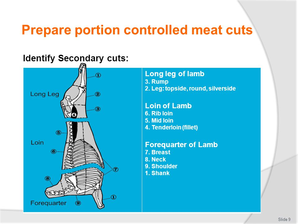 Prepare portion controlled meat cuts Identify Secondary cuts: Refer to:  Meat and Livestock Australia (MLA) website: http://www.mla.com.au http://www.mla.com.au  Halal Meats Australia website: http://www.halalmeats.com.au/products.html http://www.halalmeats.com.au/products.html Slide 10