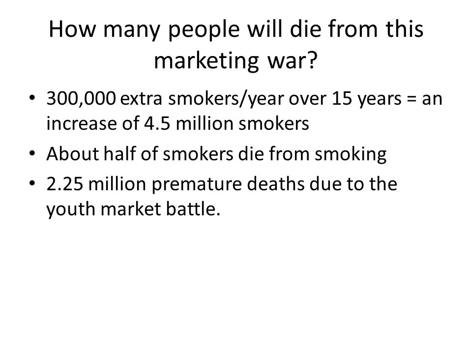 How many people will die from this marketing war.